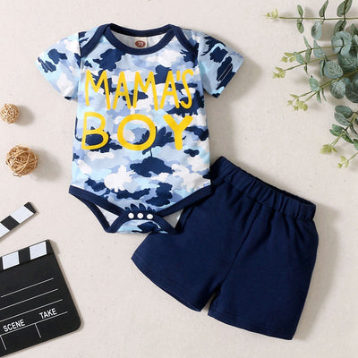 Baby Boy Letter Print Camouflage Bodysuit & Shorts Wholesale 0-3 Months Navy