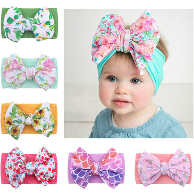Children's Headband With Printed Big Bow Wholesale Children's Clothing Pink Free size