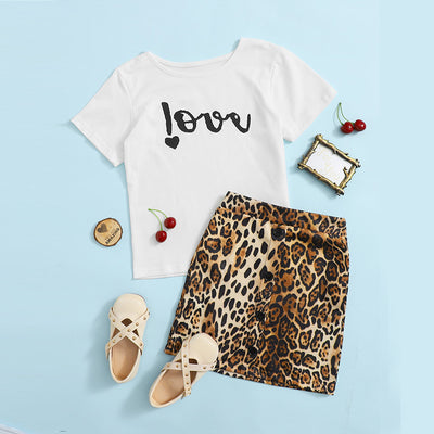 Toddler Girl 2pcs Leopard Pattern Cotton Summer Dress Set Wholesale Children's Clothing Style 1 12-18 Months