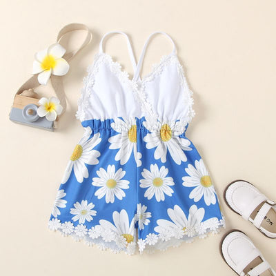 Baby Girl Daisy Pattern Lace Suspender Jumpsuit Wholesale Children's Clothing White 0-3 Months