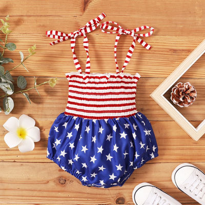 Baby Girl Independence Day Star Print Striped Cami Bodysuit Wholesale Red 0-3 Months