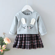 Wholesale Toddler Girl Easter Rabbit Plaid Dress Gray- Riolio