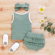 Solid Tank Top and Ruffled Shorts Set with Headband Wholesale children's clothing - Riolio