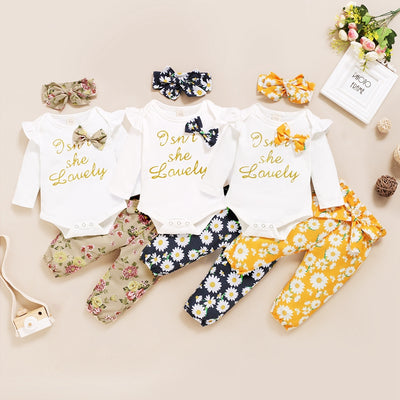 3-piece Bow Decor Bodysuit & Floral Printed Pants & Headband for Baby Girl Wholesale children's clothing - Riolio