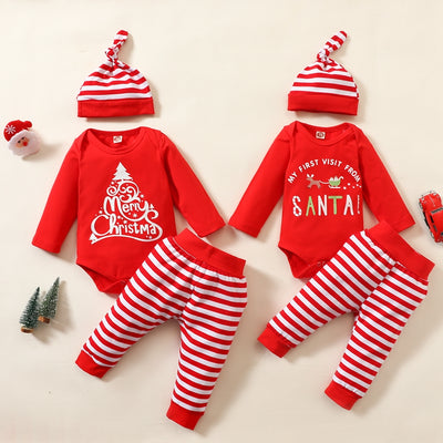 3-piece Christmas Letter Bodysuit, Stripe Pants and Hat Set for Baby Wholesale children's clothing - Riolio