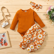3-piece Pretty Solid Bodysuit, Floral Pants with Headband Wholesale children's clothing - Riolio