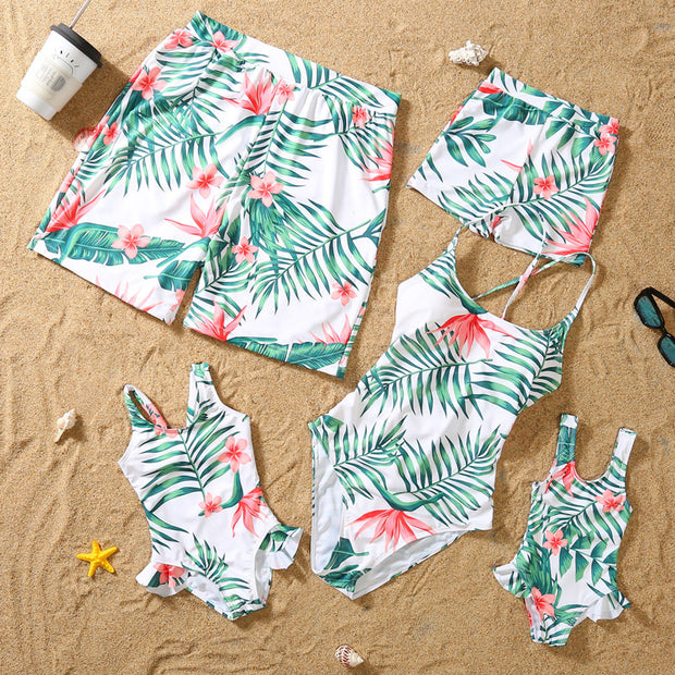 Whole Family Tropical leaf One Piece Swimsuits Wholesale Yellow Boy: 2-3Y