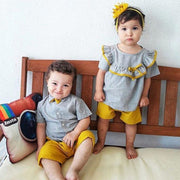 Preppy Style Short-sleeve T-shirt with Bowknot and Pants Set for Baby Clothing Wholesale - Riolio