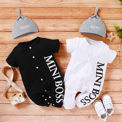 2-piece Letter Printed Bodysuit & Hat for Baby Boy(No Shoes) Wholesale White 0-3 Months