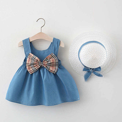 Baby Girl Solid Pattern Dress & Straw Hat Wholesale Children's Clothing Blue 6-9 Months