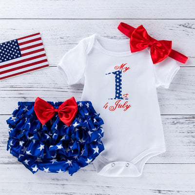 Baby Girl Independence Day Letter Print Bodysuit & Star Print Shorts & Headband Wholesale Style 1 0-3 Months