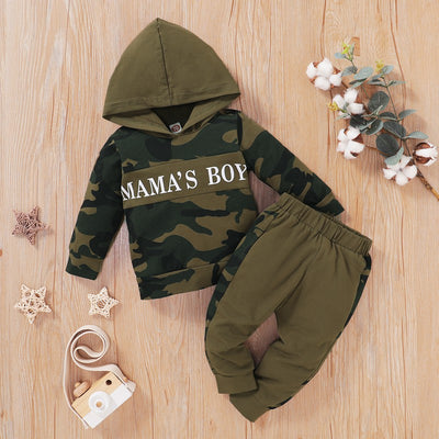 2-piece Letter Pattern Camouflage Hoodie & Pants for Baby Boy Wholesale children's clothing - Riolio