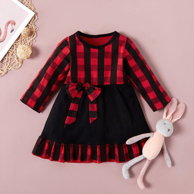 Cute Plaid Dress with Bowknot Wholesale children's clothing - Riolio