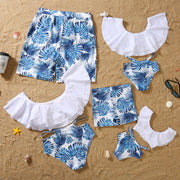 Whole Family Tropical leaf Swimsuits Wholesale White Boy: 3-4Y