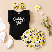 Baby Girl Ruffle Romper & Floral Print Shorts & Bowknot Headband Wholesale