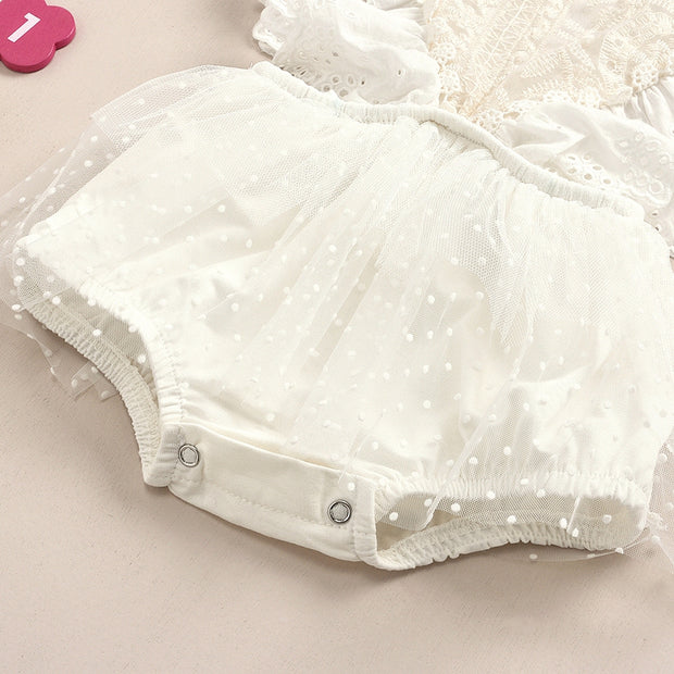 Solid Ruffle Lace Bodysuit for Baby Girl Wholesale children's clothing - Riolio