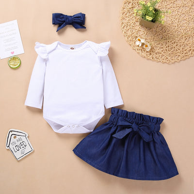 3-pieceJumpsuit & Skirt & Headwear for Baby Girl Wholesale children's clothing - Riolio