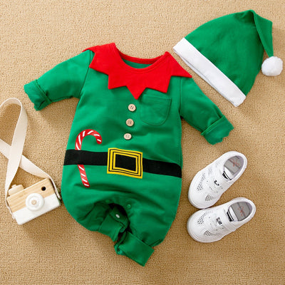 2-piece Christmas Jumpsuit & Hat for Baby Boy Wholesale children's clothing - Riolio
