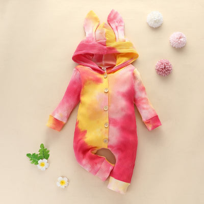 Wholesale Baby Girl Easter Rabbit Tie Dye Bodysuit- Riolio