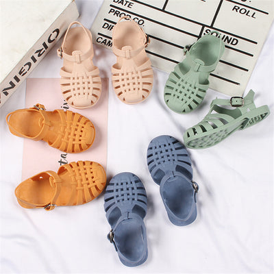 Solid color PVC Velcro Sandals for toddle girls Wholesale Yellow 24
