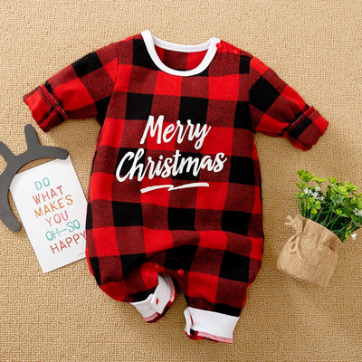 Letter Pattern Plaid Jumpsuit for Baby Wholesale children's clothing - Riolio