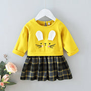 Wholesale Toddler Girl Easter Rabbit Plaid Dress Yellow- Riolio