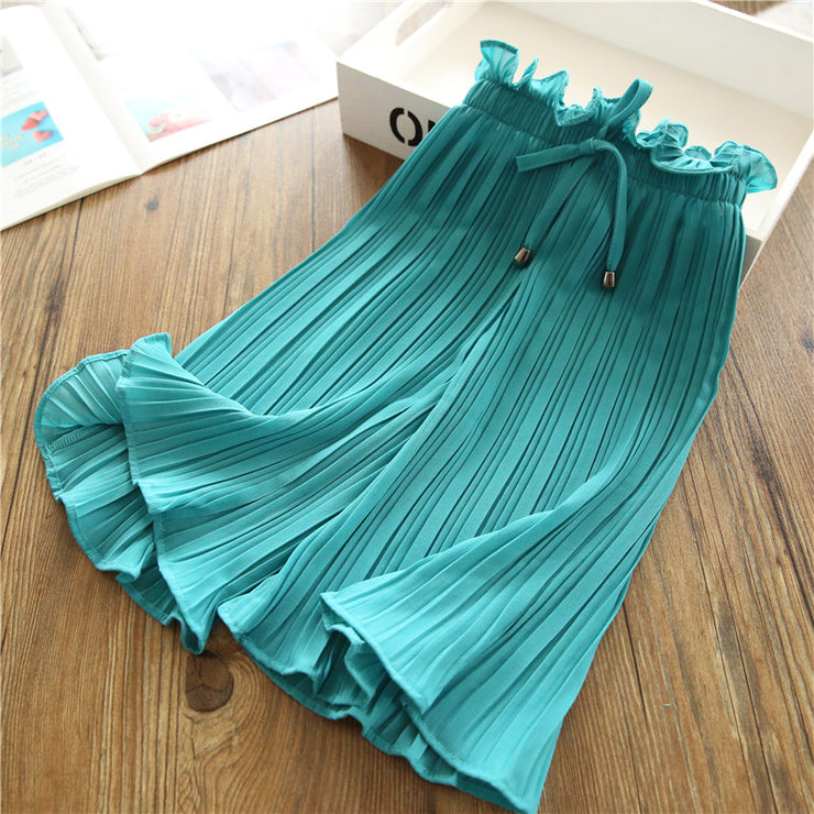 Solid Chiffon Pants for Toddler Girl Children's Clothing Wholesale - Riolio