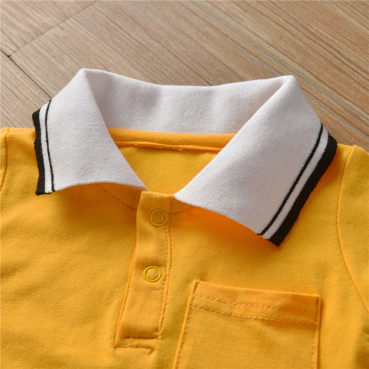 Solid Lapel Collar Jumpsuit for Baby Boy Wholesale children's clothing - Riolio