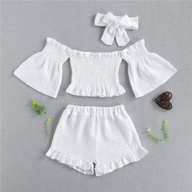 Toddler Girl Off-the-shoulder Flared Sleeves Top & Shorts & Headband Wholesale