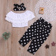 3-piece Solid Tassl Tops & Polka Dot Pants & Headband for Toddler Girl Wholesale children's clothing - Riolio