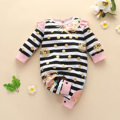 Cartoon Design Stripes Jumpsuit for Baby Girl Wholesale children's clothing - Riolio