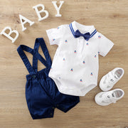 2-piece Bow Decor Bodysuit & Dungarees for Baby Boy Wholesale children's clothing - Riolio