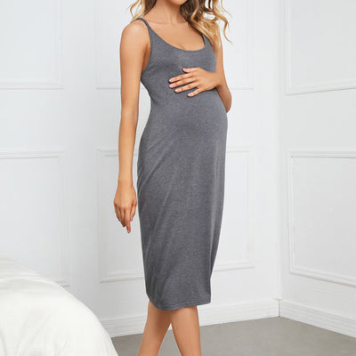 Solid Maternity Slip Dress Wholesale Deep Gray S