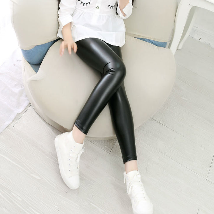 Slim-fit Solid Color Leather Pants Leggings for Kid Girl Wholesale children's clothing - Riolio