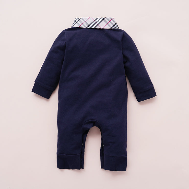 Casual Plaid Lapel Collar Jumpsuit for Baby Children's clothing wholesale - Riolio