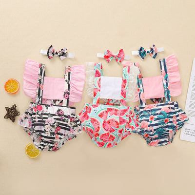 2-piece Floral Bodysuit & Headband for Baby Girl Wholesale Children's Clothing - Riolio