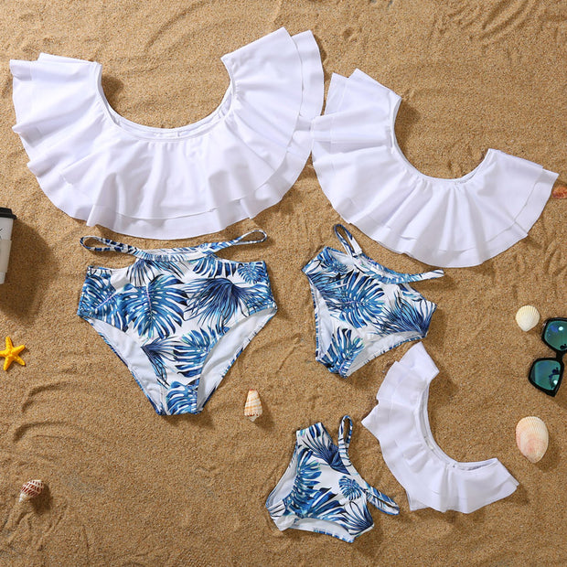 Whole Family Tropical leaf Swimsuits Wholesale White Boy: 4-5Y
