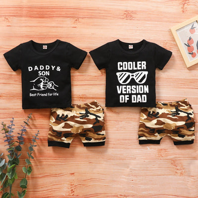 Toddler Boy Letter Print T-shirt & Camouflage Print Shorts Wholesale Style 1 9-12 Months