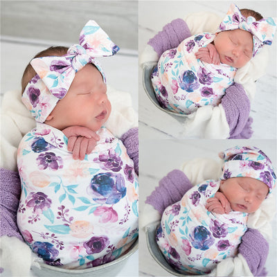 3-piece Floral Printed Baby Photographic Clothing & Hat & Headband Wholesale children's clothing - Riolio