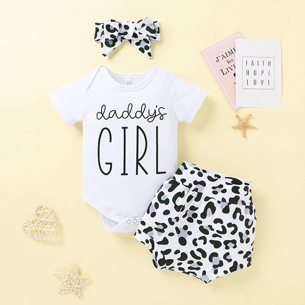 Baby Girl Romper & Leopard Print Shorts & Bowknot Headband Wholesale