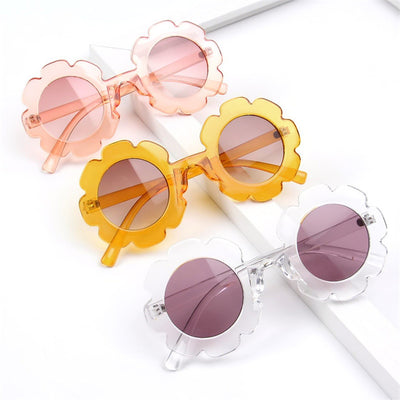 Flower Pattern Sunglasses Wholesale Pale Yellow Free size