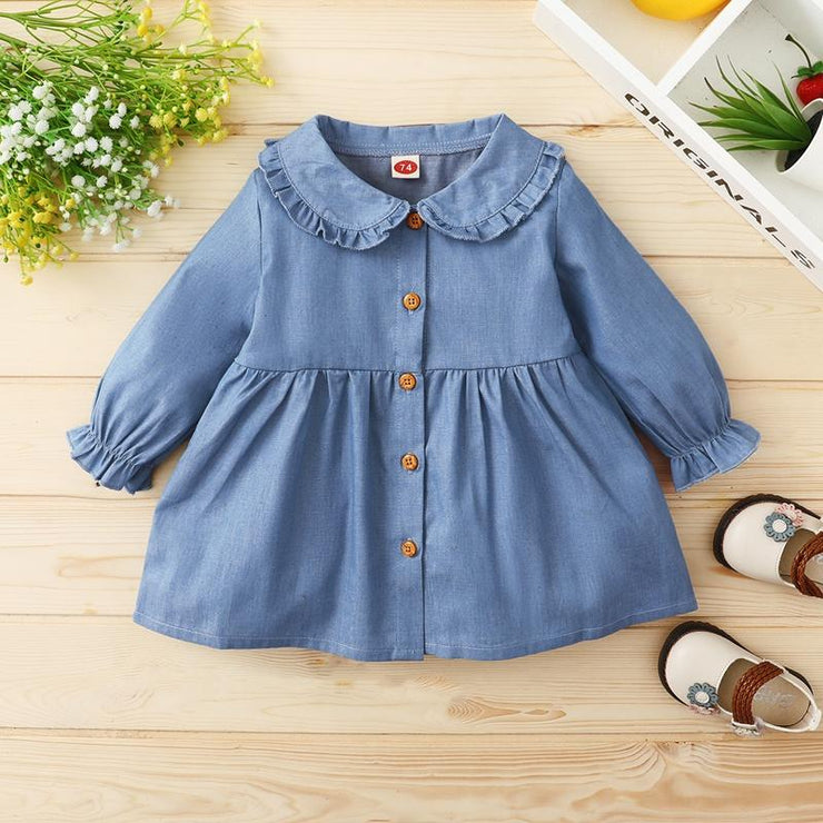Blue Long Sleeve Dress for Baby Girl Wholesale children's clothing - Riolio