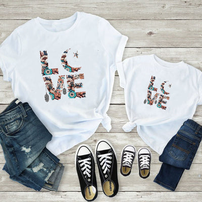 Parent-child T-shirt With Alphabet Pattern For Mother Baby Clothes Wholesale Children's Clothing White Boy: 18-24M