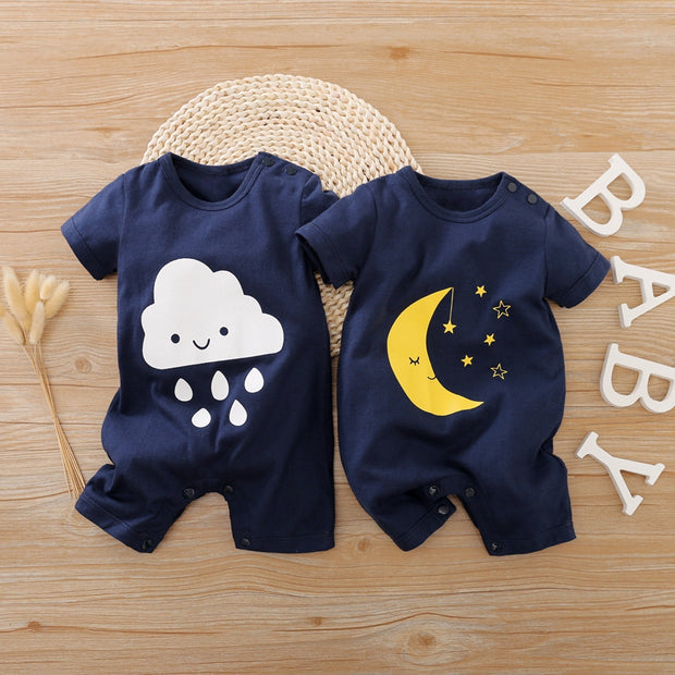Moon Clouds Pattern Bodysuit for Baby Wholesale children's clothing - Riolio