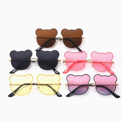 Cartoon Bear Pattern Metal Glasses Wholesale Pink Free size