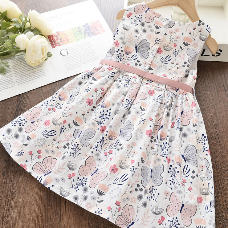 Bowknot Decor Floral Printed Dress for Toddler Girl Wholesale children's clothing - Riolio