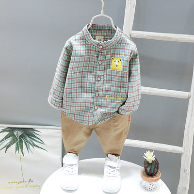 2-piece Bear Pattern Plaid Shirt & Pants for Toddler Boy Wholesale children's clothing - Riolio