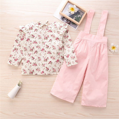 2-piece Sweet Floral Printed Blouse & Overalls for Toddler Girl Wholesale children's clothing - Riolio