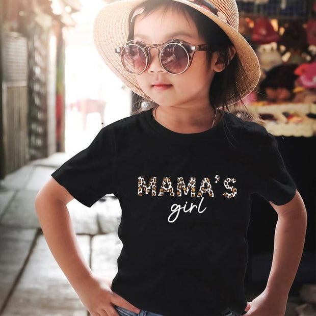Parent-child Letter Pattern Mother Baby Clothes Wholesale Children's Clothing Black Girl: 3-4Y