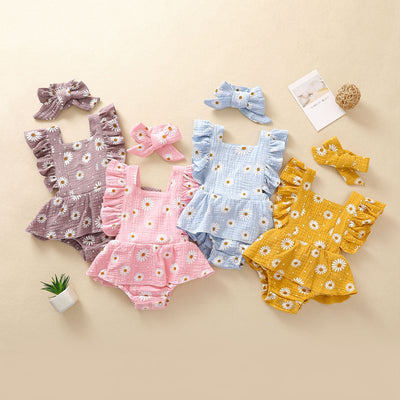 Baby Girl 2pcs Floral Pattern Bodysuit & Headhand Wholesale Children's Clothing Yellow 3-6 Months